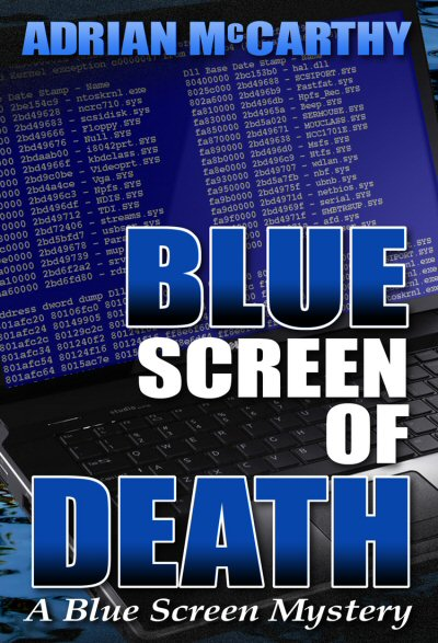 cover image for Blue Screen of Death depicts a laptop computer displaying a blue diagnostic screen while hovering over water
